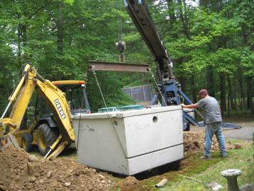 Septic Medic certified technician repairs and replaces a septic tank system in Pennsylvania